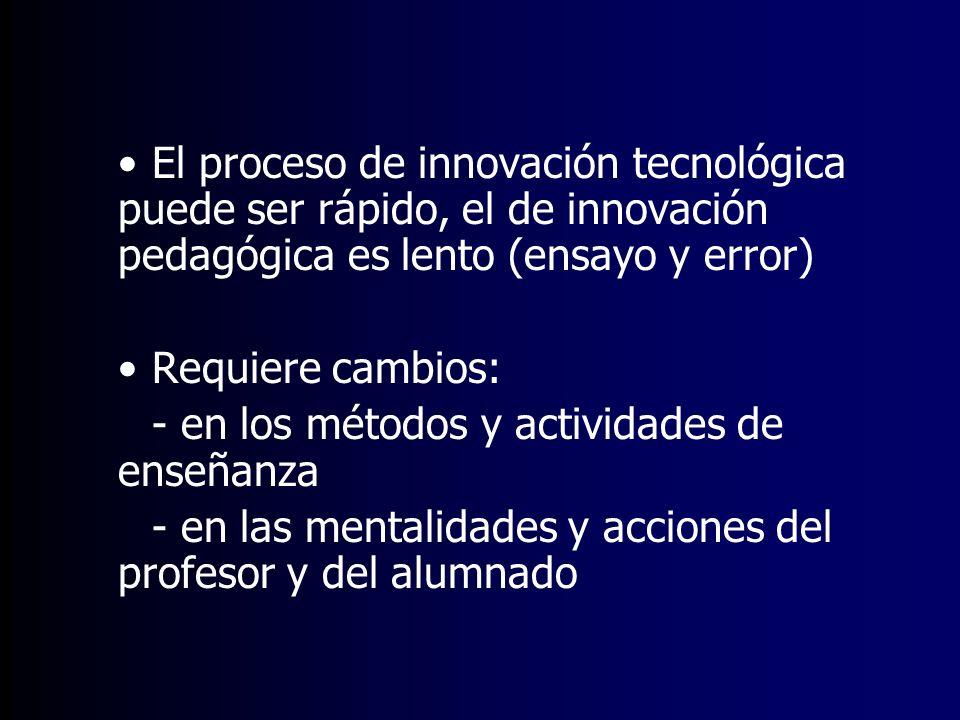 El proceso de innovación tecnológica puede ser rápido, el de innovación pedagógica es lento (ensayo y error) Requiere cambios: - en los métodos y acti
