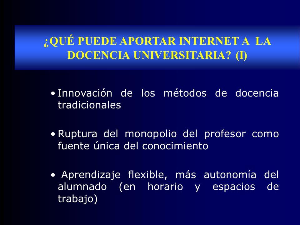 ¿QUÉ PUEDE APORTAR INTERNET A LA DOCENCIA UNIVERSITARIA? (I) Innovación de los métodos de docencia tradicionales Ruptura del monopolio del profesor co