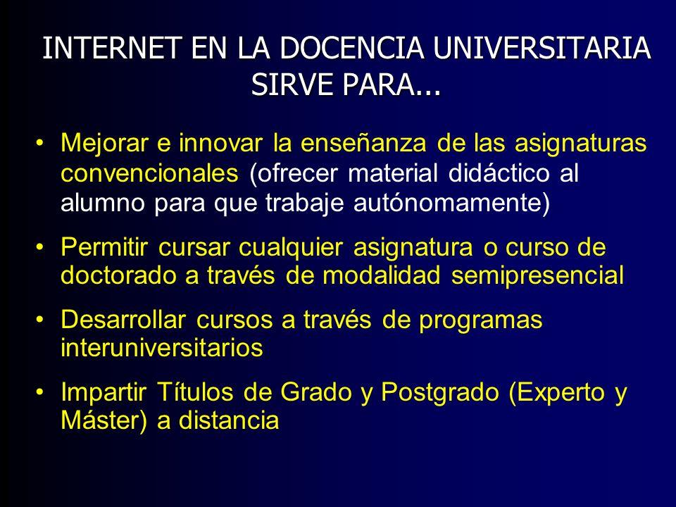 INTERNET EN LA DOCENCIA UNIVERSITARIA SIRVE PARA... Mejorar e innovar la enseñanza de las asignaturas convencionales (ofrecer material didáctico al al