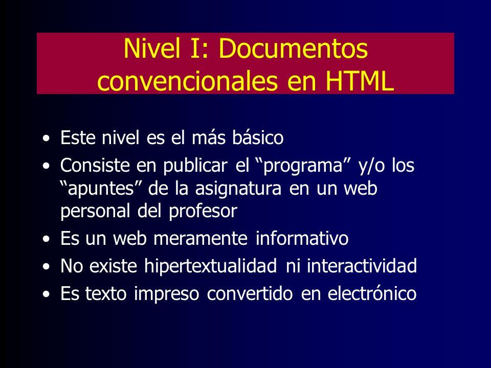 Nivel II: Web docente de la asignatura Es un material didáctico destinado a facilitar el estudio autónomo por parte del alumnado a través de un ordenador Tiene las características propias de un website (hipertextualidad y multimedia) Requiere conocimientos de diseño en HTML Es un material complementario a las clases convencionales