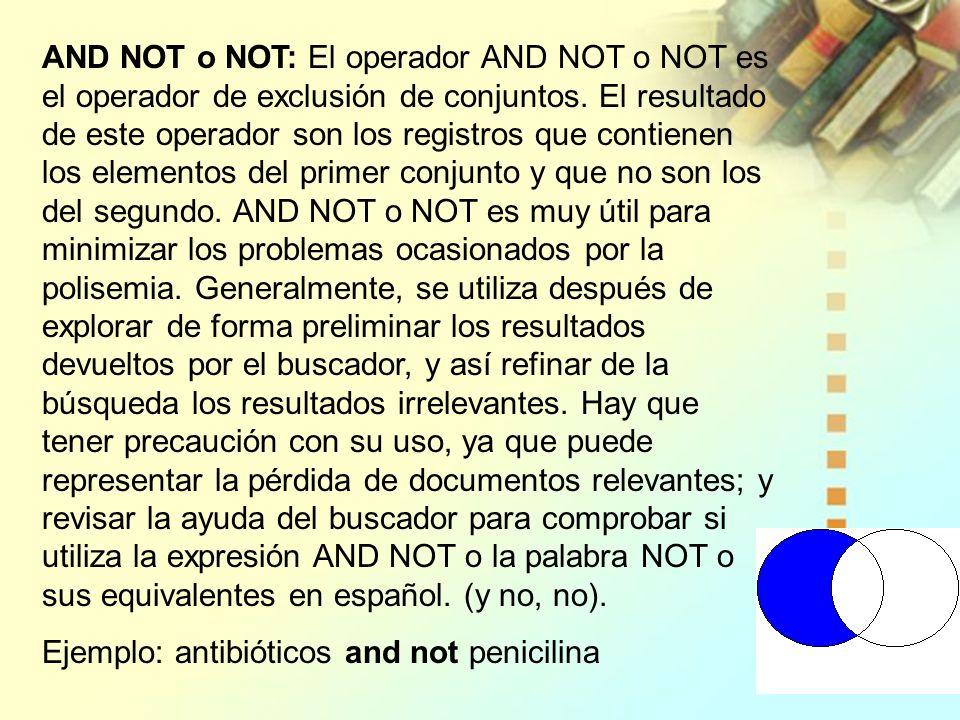 AND NOT o NOT: El operador AND NOT o NOT es el operador de exclusión de conjuntos. El resultado de este operador son los registros que contienen los e
