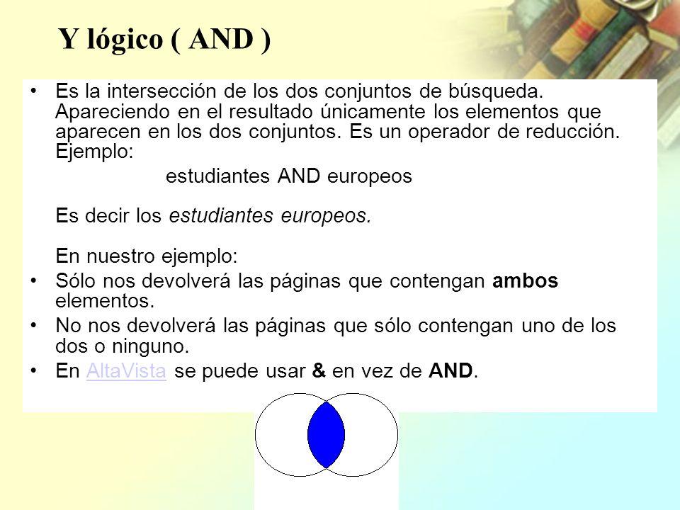 Y lógico ( AND ) Es la intersección de los dos conjuntos de búsqueda. Apareciendo en el resultado únicamente los elementos que aparecen en los dos con