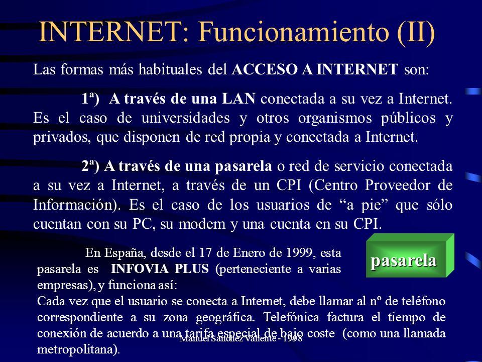 Manuel Sánchez Valiente - 1998 INTERNET: Funcionamiento (II)pasarela Las formas más habituales del ACCESO A INTERNET son: 1ª) A través de una LAN cone