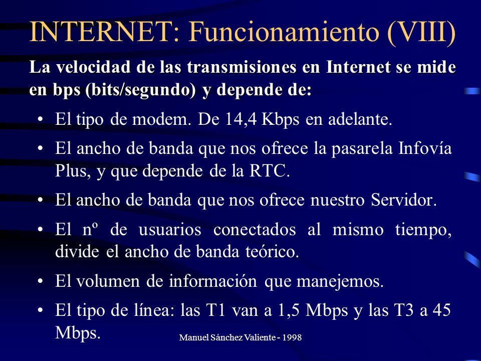 Manuel Sánchez Valiente - 1998 INTERNET: Funcionamiento (VIII) El tipo de modem. De 14,4 Kbps en adelante. El ancho de banda que nos ofrece la pasarel