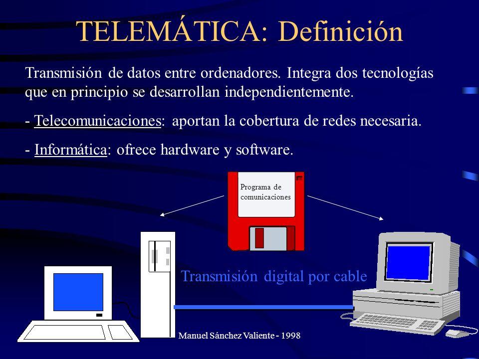 Manuel Sánchez Valiente - 1998 TELEMÁTICA: Definición Transmisión de datos entre ordenadores. Integra dos tecnologías que en principio se desarrollan
