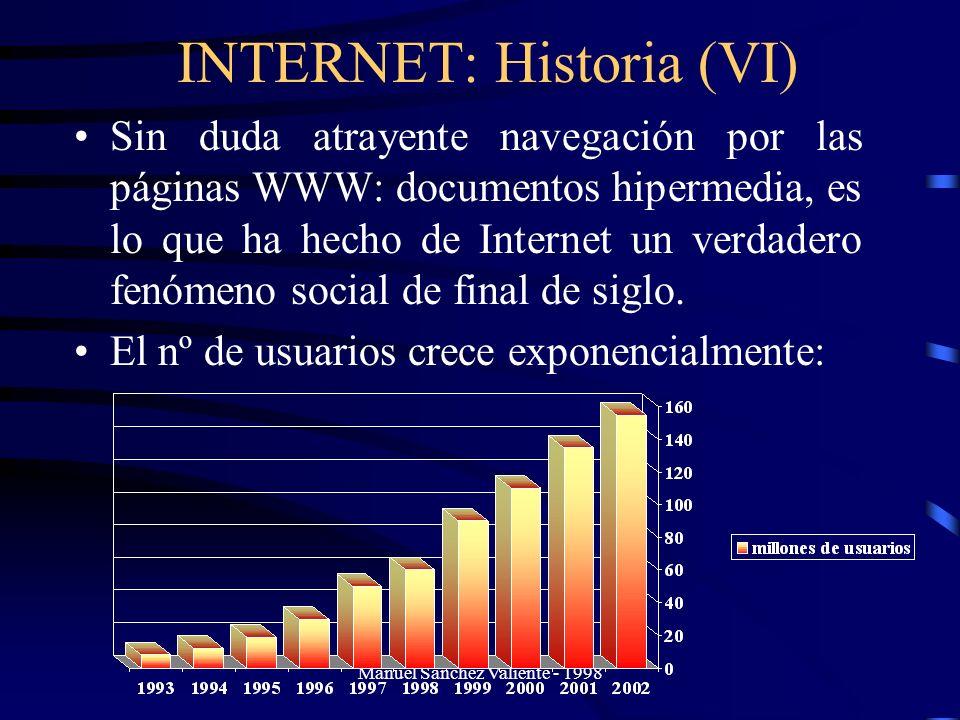 Manuel Sánchez Valiente - 1998 INTERNET: Historia (VI) Sin duda atrayente navegación por las páginas WWW: documentos hipermedia, es lo que ha hecho de
