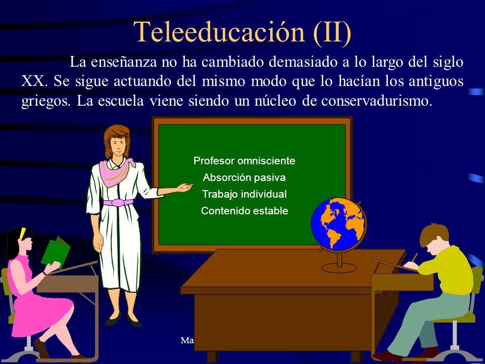 Manuel Sánchez Valiente - 1998 Teleeducación (II) La enseñanza no ha cambiado demasiado a lo largo del siglo XX. Se sigue actuando del mismo modo que