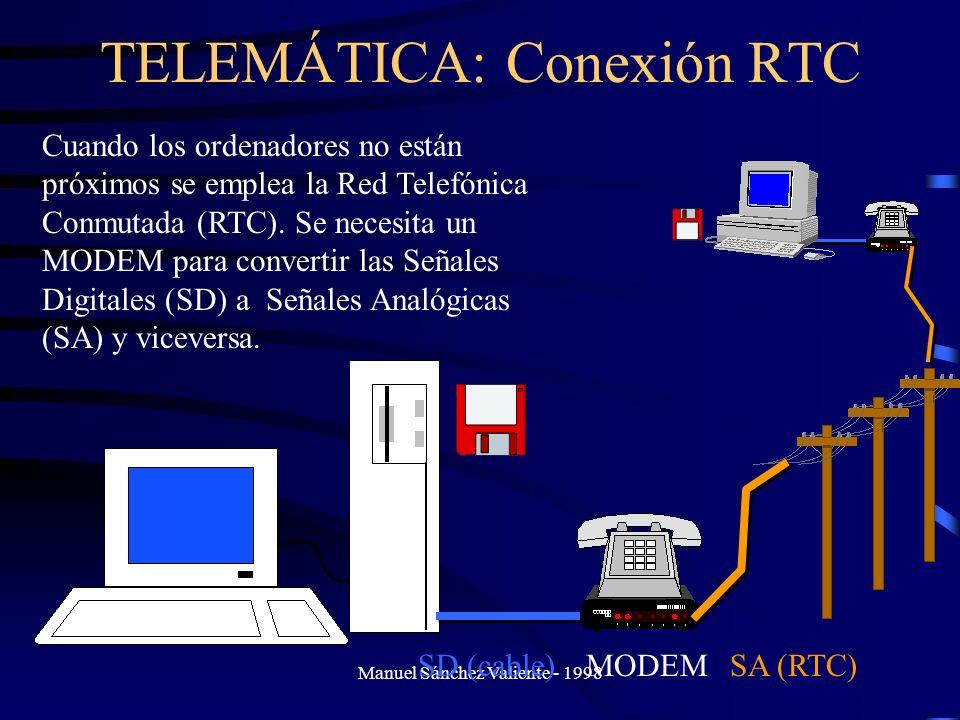 Manuel Sánchez Valiente - 1998 TELEMÁTICA: Conexión RTC Cuando los ordenadores no están próximos se emplea la Red Telefónica Conmutada (RTC). Se neces