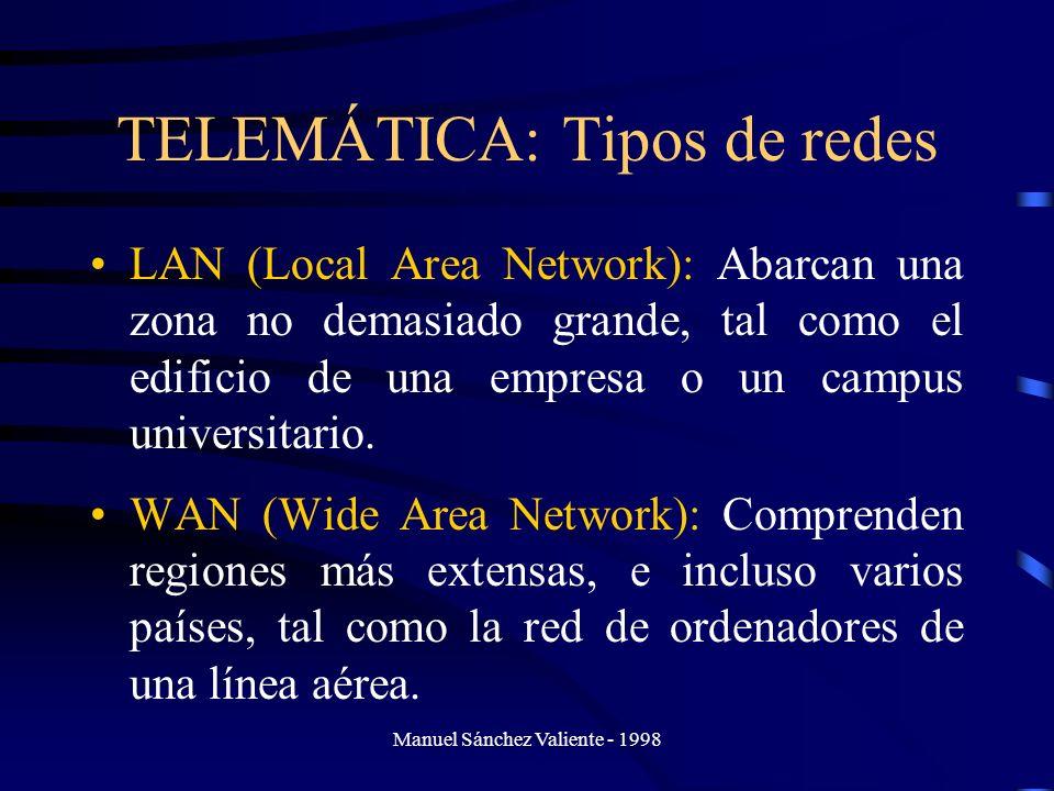 Manuel Sánchez Valiente - 1998 TELEMÁTICA: Tipos de redes LAN (Local Area Network): Abarcan una zona no demasiado grande, tal como el edificio de una
