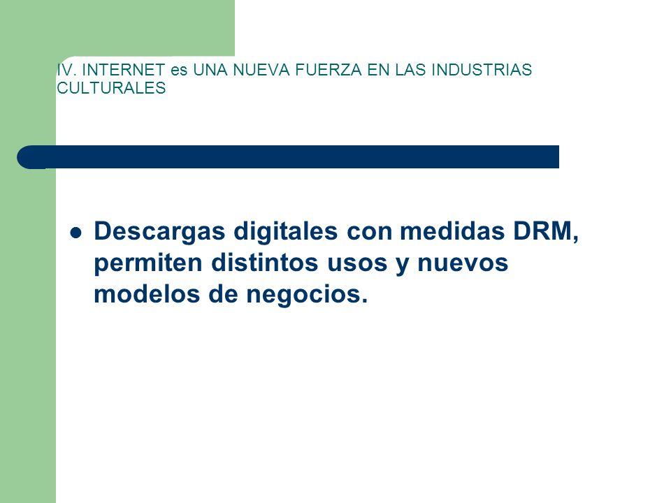 IV. INTERNET es UNA NUEVA FUERZA EN LAS INDUSTRIAS CULTURALES Descargas digitales con medidas DRM, permiten distintos usos y nuevos modelos de negocio