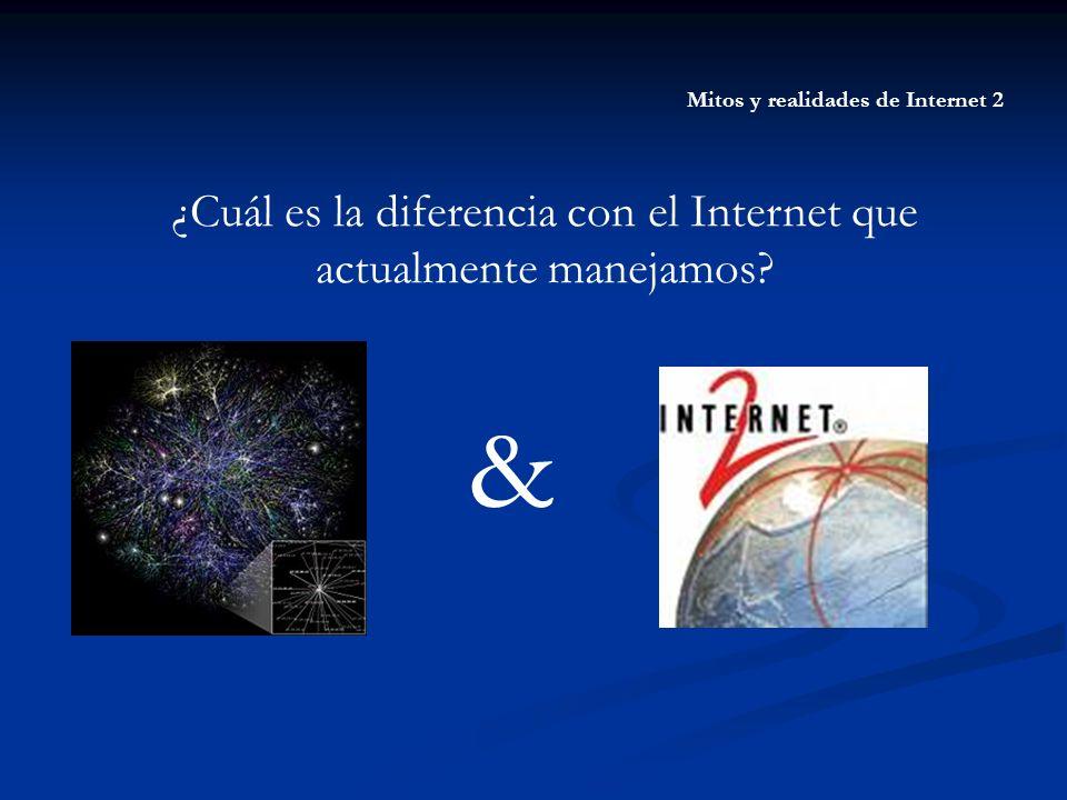 Mitos y realidades de Internet 2 ¿Cuál es la diferencia con el Internet que actualmente manejamos? &