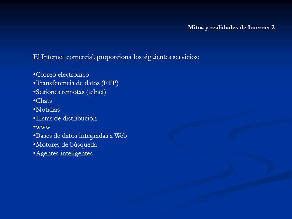 Mitos y realidades de Internet 2 El Internet comercial, proporciona los siguientes servicios: Correo electrónico Transferencia de datos (FTP) Sesiones