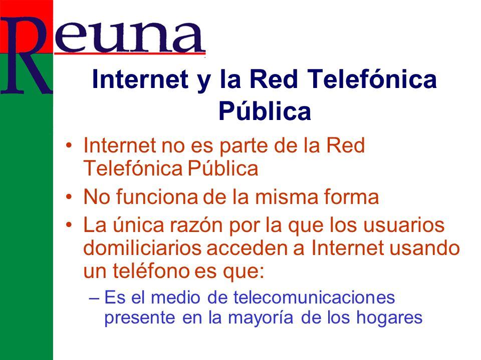 Acceso Telefónico a Internet: Lo que en realidad ocurre Red Pública Telefónica Conmutada Proveedor de Internet Internet