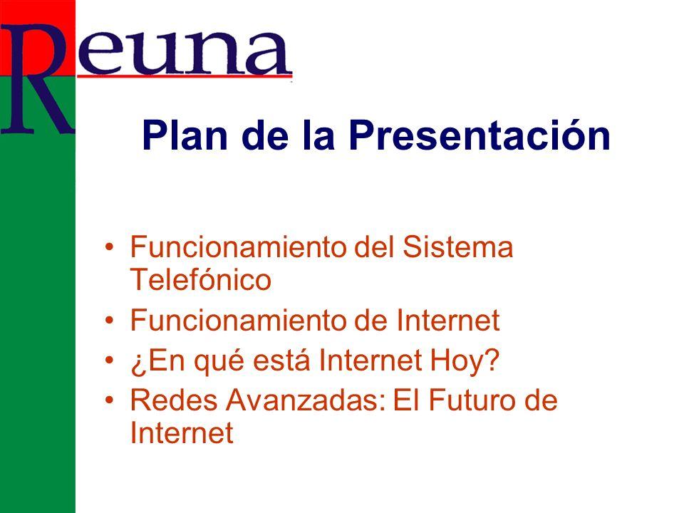 Plan de la Presentación Funcionamiento del Sistema Telefónico Funcionamiento de Internet ¿En qué está Internet Hoy.