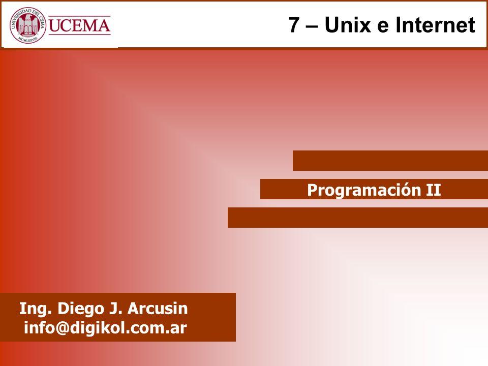 Programación II Ing. Diego J. Arcusin info@digikol.com.ar 7 – Unix e Internet