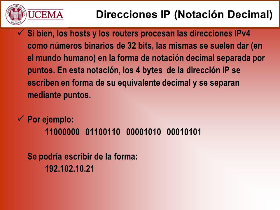 Si bien, los hosts y los routers procesan las direcciones IPv4 como números binarios de 32 bits, las mismas se suelen dar (en el mundo humano) en la forma de notación decimal separada por puntos.
