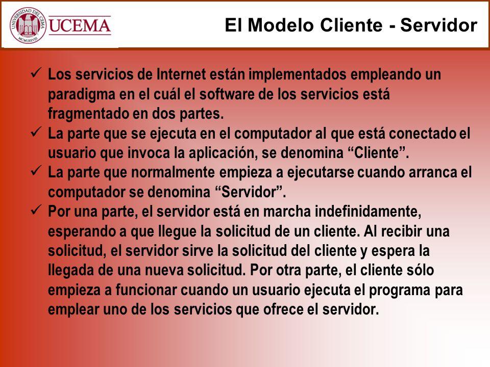 Los servicios de Internet están implementados empleando un paradigma en el cuál el software de los servicios está fragmentado en dos partes.