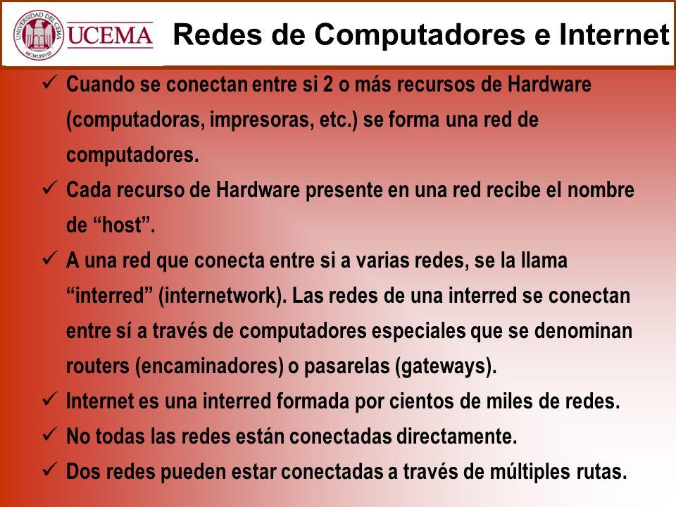 Redes de Computadores e Internet Cuando se conectan entre si 2 o más recursos de Hardware (computadoras, impresoras, etc.) se forma una red de computadores.