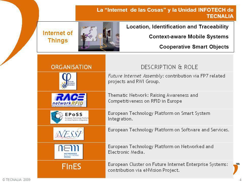 © TECNALIA 2009 5 The INFOTECH Unit in TECNALIA (i) La Era de la Internet de las Cosas Visión: Las nuevas aplicaciones tecnológicas convertirán a la red en una Internet de los objetos, con constante interacción de máquinas, vehículos, aparatos, sensores y muchos otros dispositivos….