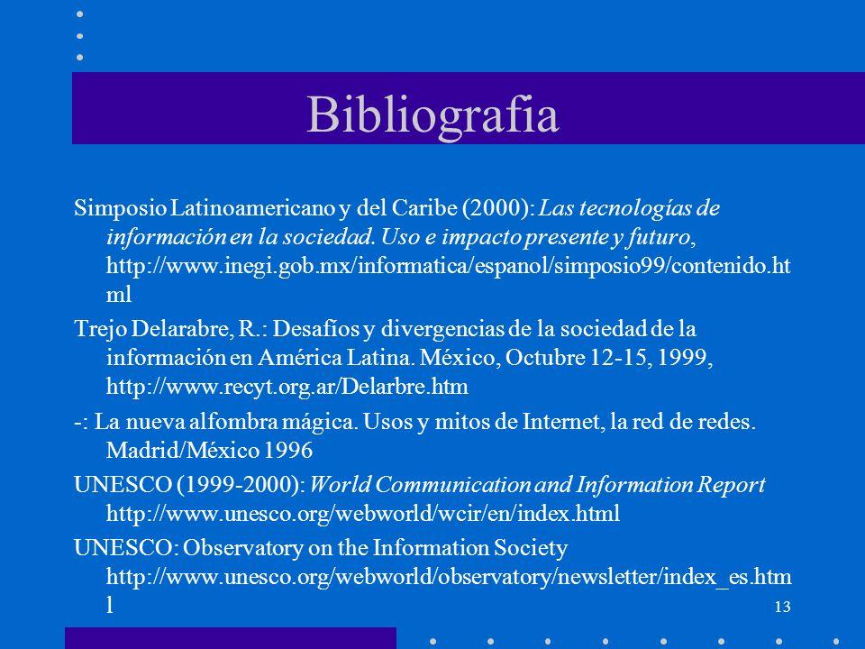 13 Bibliografia Simposio Latinoamericano y del Caribe (2000): Las tecnologías de información en la sociedad. Uso e impacto presente y futuro, http://w
