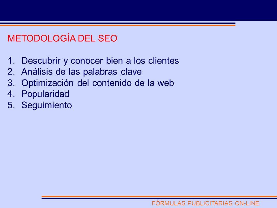 FÓRMULAS PUBLICITARIAS ON-LINE METODOLOGÍA DEL SEO 1.Descubrir y conocer bien a los clientes 2.Análisis de las palabras clave 3.Optimización del contenido de la web 4.Popularidad 5.Seguimiento