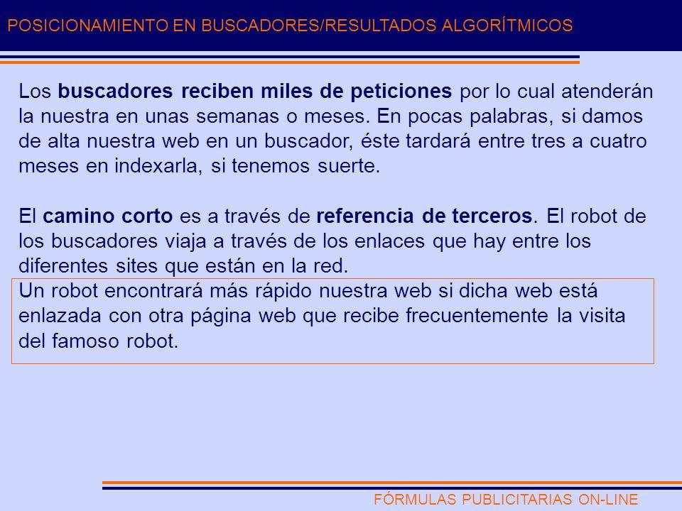FÓRMULAS PUBLICITARIAS ON-LINE POSICIONAMIENTO EN BUSCADORES/RESULTADOS ALGORÍTMICOS Los buscadores reciben miles de peticiones por lo cual atenderán la nuestra en unas semanas o meses.