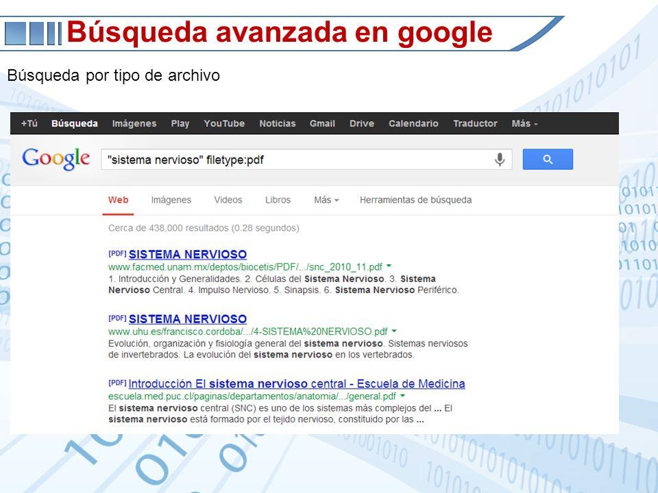 Búsqueda avanzada en google Búsqueda por tipo de archivo