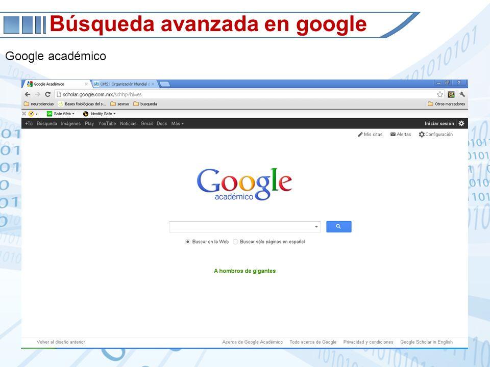 Búsqueda avanzada en google Google académico