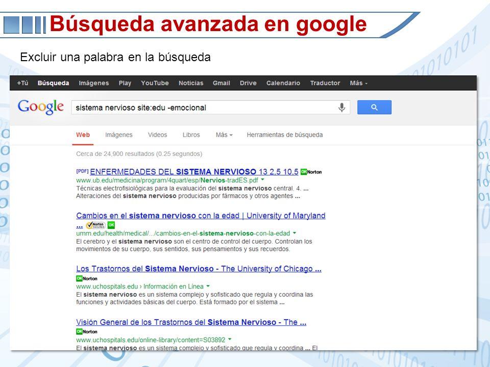Búsqueda avanzada en google Excluir una palabra en la búsqueda