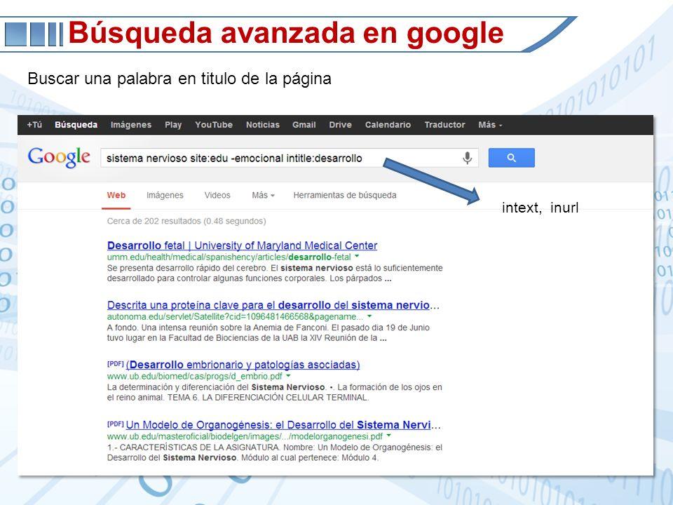 Búsqueda avanzada en google Buscar una palabra en titulo de la página intext, inurl