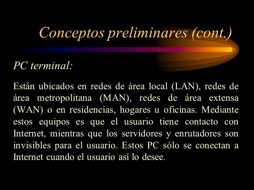 Conceptos preliminares (cont.) Servidores (host): Son aquellos equipos que permanentemente están conectados entre sí mediante Internet y en ellos se e