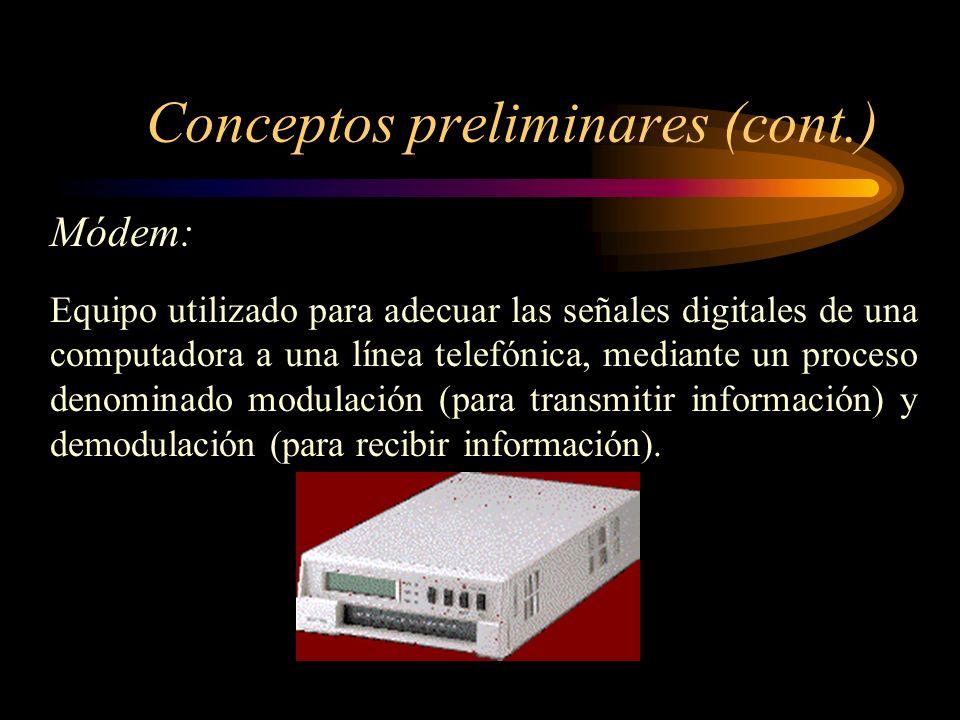 Conceptos preliminares (cont.) PC terminal: Están ubicados en redes de área local (LAN), redes de área metropolitana (MAN), redes de área extensa (WAN