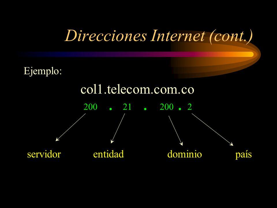 Direcciones Internet Cada servidor en la red Internet tiene asignada una
