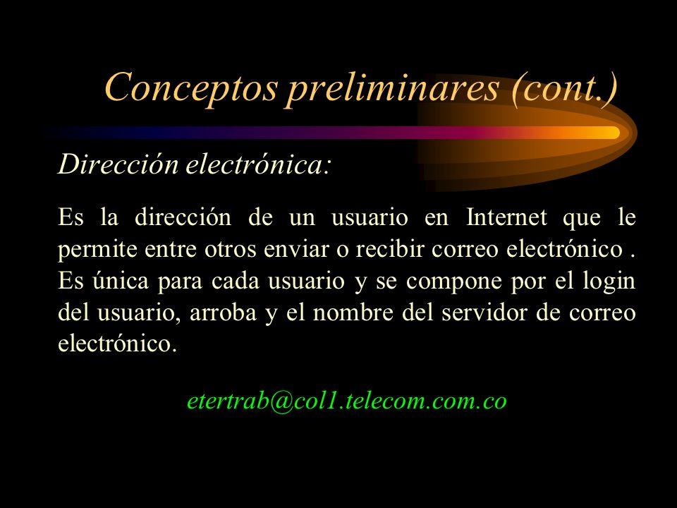 Conceptos preliminares Dirección electrónica Dominio Paquete (packet) Enrutadores Servidores (host) PC terminales Módem Medio de transmisión