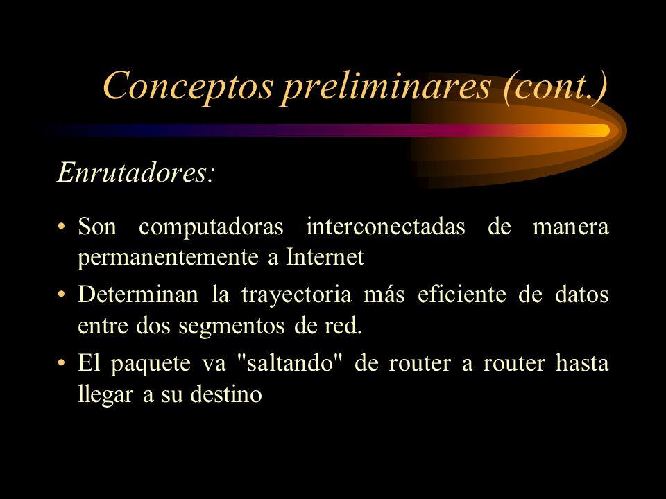 Conceptos preliminares (cont.) Paquete: Es la unidad de datos que se envía a través de una red. Un paquete se compone de un conjunto de bits ( 1 o 0s