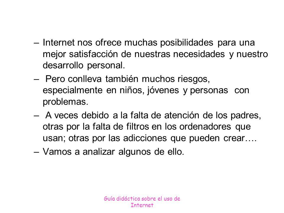 Guía didáctica sobre el uso de Internet RIESGOS RELACIONADOS CON LA INFORMACIÓN Acceso a la información poco fiable y falsa.