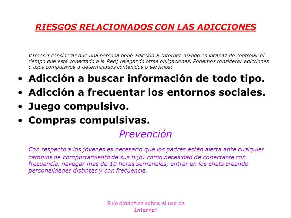 Guía didáctica sobre el uso de Internet RIESGOS RELACIONADOS CON LAS ADICCIONES Vamos a considerar que una persona tiene adicción a Internet cuando es