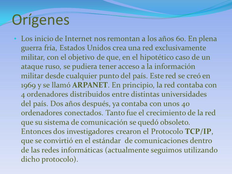 ARPANET La red de computadoras ARPANET (Advanced Research Projects Agency Network) fue creada por encargo del Departamento de Defensa de los Estados Unidos como medio de comunicación para los diferentes organismos del país.