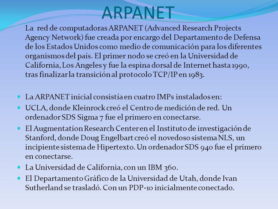 ARPANET La red de computadoras ARPANET (Advanced Research Projects Agency Network) fue creada por encargo del Departamento de Defensa de los Estados U