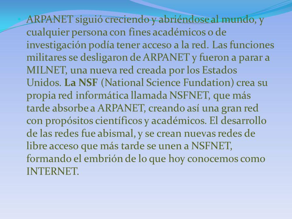 ARPANET siguió creciendo y abriéndose al mundo, y cualquier persona con fines académicos o de investigación podía tener acceso a la red. Las funciones