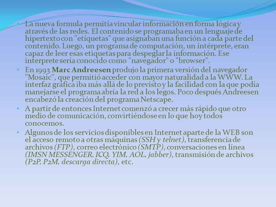 La nueva formula permitía vincular información en forma lógica y através de las redes. El contenido se programaba en un lenguaje de hipertexto con