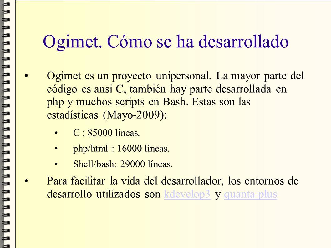 Ogimet. Cómo se ha desarrollado Ogimet es un proyecto unipersonal. La mayor parte del código es ansi C, también hay parte desarrollada en php y muchos