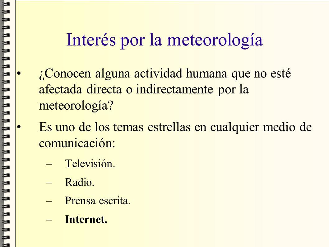 Interés por la meteorología ¿Conocen alguna actividad humana que no esté afectada directa o indirectamente por la meteorología? Es uno de los temas es
