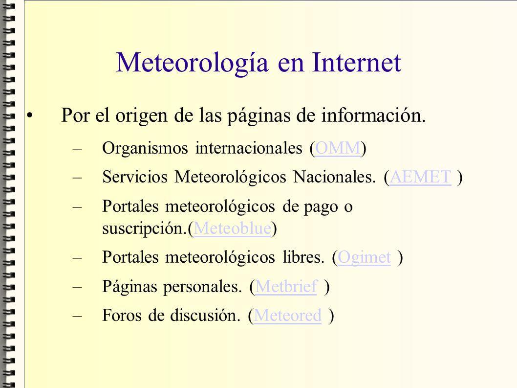 Meteorología en Internet Por el origen de las páginas de información. –Organismos internacionales (OMM)OMM –Servicios Meteorológicos Nacionales. (AEME