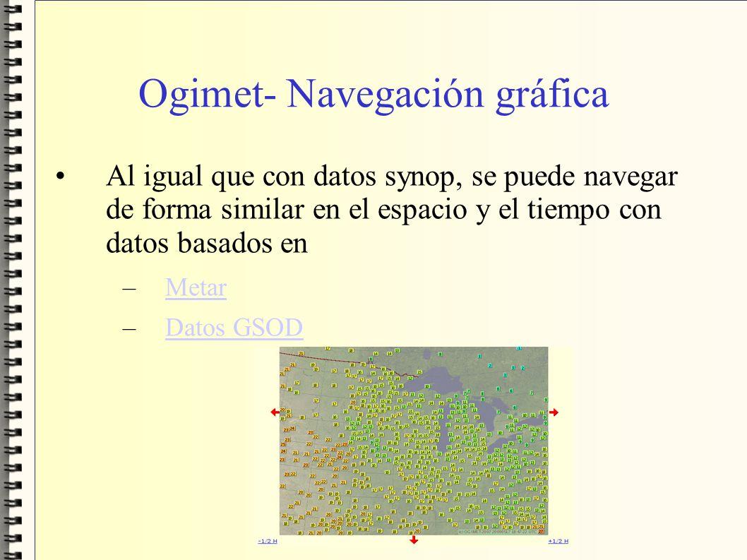 Ogimet- Navegación gráfica Al igual que con datos synop, se puede navegar de forma similar en el espacio y el tiempo con datos basados en –MetarMetar