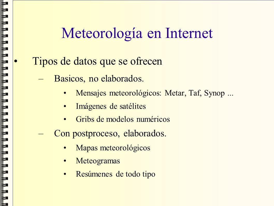 Meteorología en Internet Tipos de datos que se ofrecen –Basicos, no elaborados. Mensajes meteorológicos: Metar, Taf, Synop... Imágenes de satélites Gr