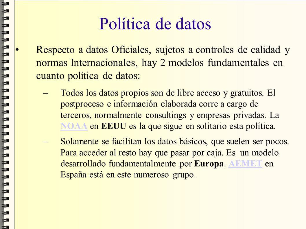 Política de datos Respecto a datos Oficiales, sujetos a controles de calidad y normas Internacionales, hay 2 modelos fundamentales en cuanto política
