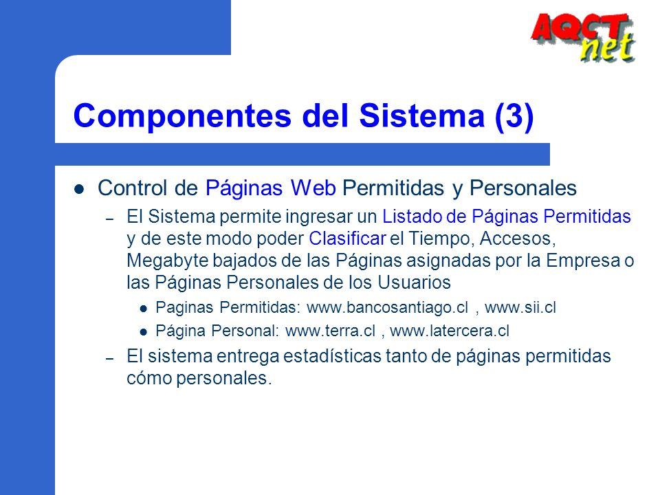 Componentes del Sistema (3) Control de Páginas Web Permitidas y Personales – El Sistema permite ingresar un Listado de Páginas Permitidas y de este mo