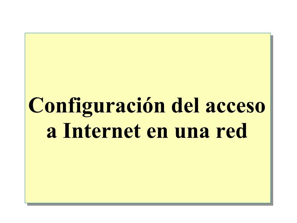 Descripción general Opciones para conectar una red a Internet Configuración del acceso a Internet utilizando un router Configuración del acceso a Internet utilizando NAT