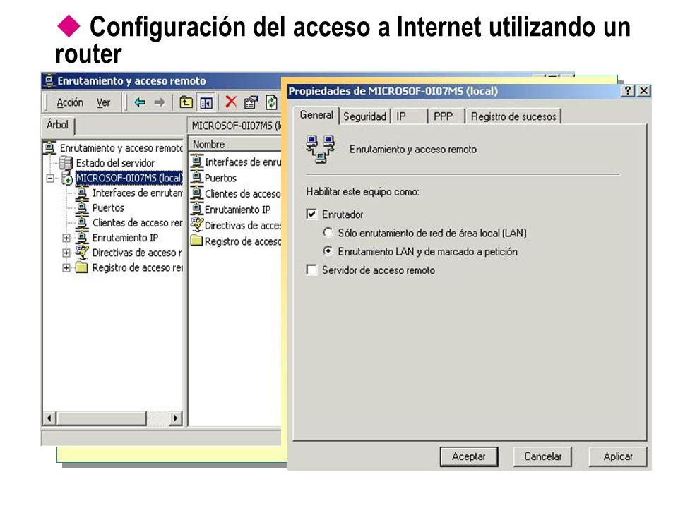 Configuración del acceso a Internet utilizando un router